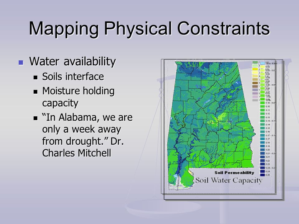 Mapping Physical Constraints Water availability Water availability Soils interface Soils interface Moisture holding capacity Moisture holding capacity In Alabama, we are only a week away from drought.