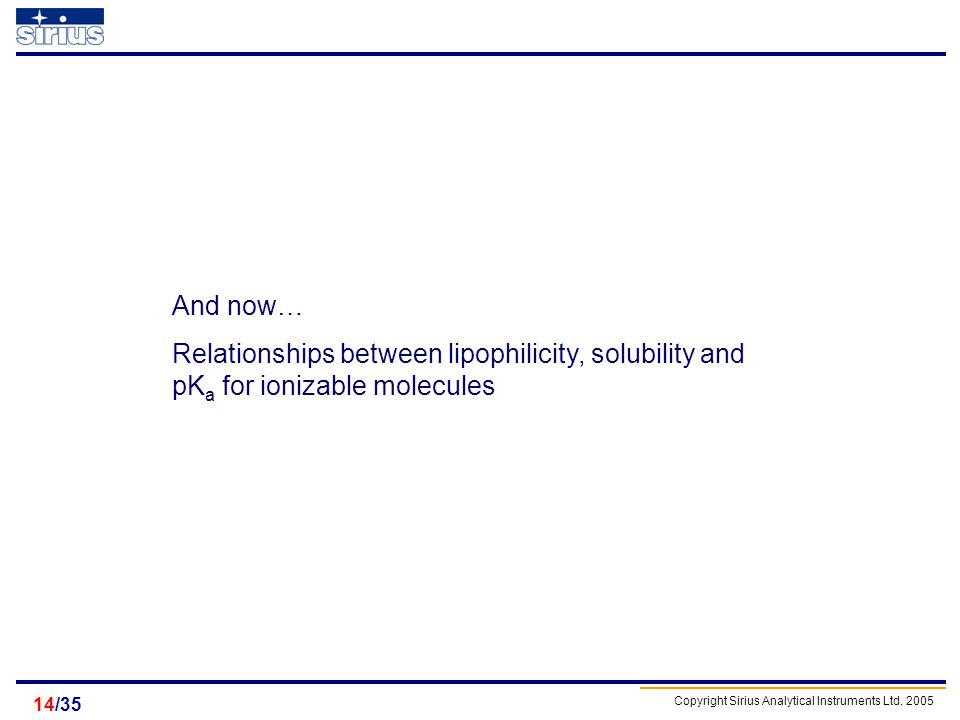 Copyright Sirius Analytical Instruments Ltd. 2005 /3514 And now… Relationships between lipophilicity, solubility and pK a for ionizable molecules