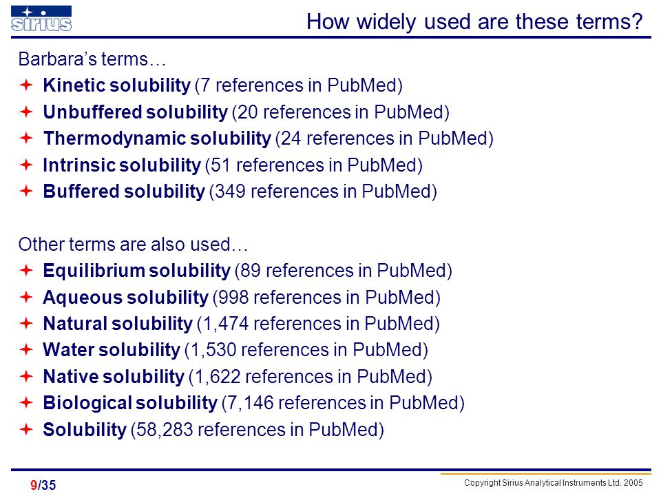 Copyright Sirius Analytical Instruments Ltd. 2005 /359 How widely used are these terms? Barbaras terms… Kinetic solubility (7 references in PubMed) Un