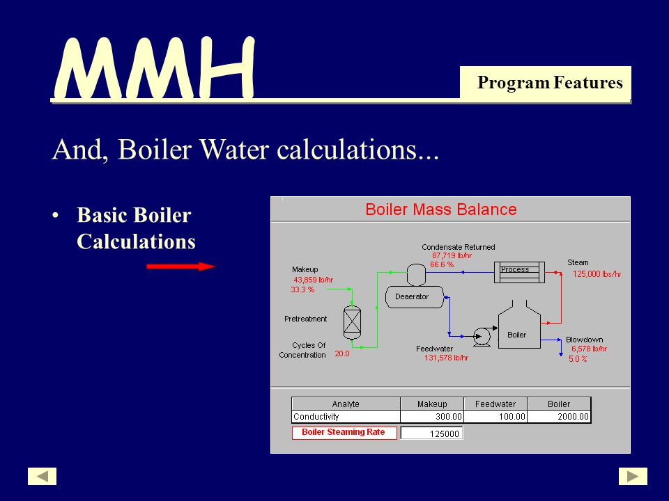 MMH Program Features Basic Boiler Calculations And, Boiler Water calculations...