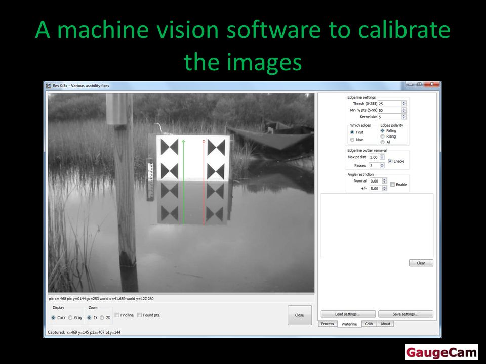 A machine vision software to calibrate the images