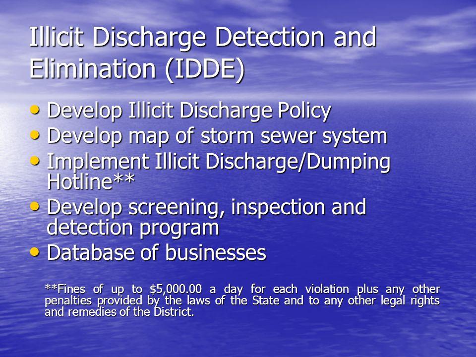 Illicit Discharge Detection and Elimination (IDDE) Develop Illicit Discharge Policy Develop Illicit Discharge Policy Develop map of storm sewer system