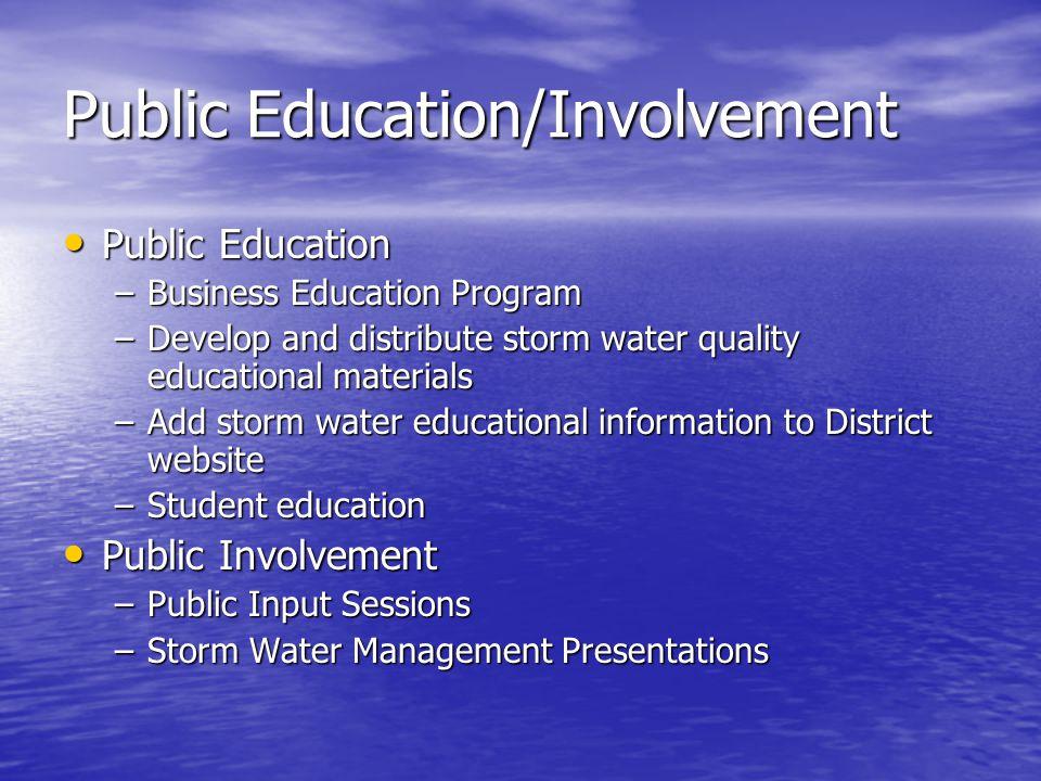 Public Education/Involvement Public Education Public Education –Business Education Program –Develop and distribute storm water quality educational mat