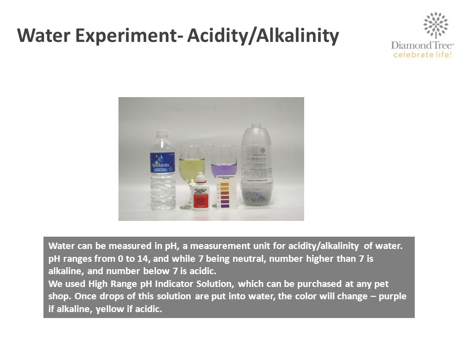 Water can be measured in pH, a measurement unit for acidity/alkalinity of water.