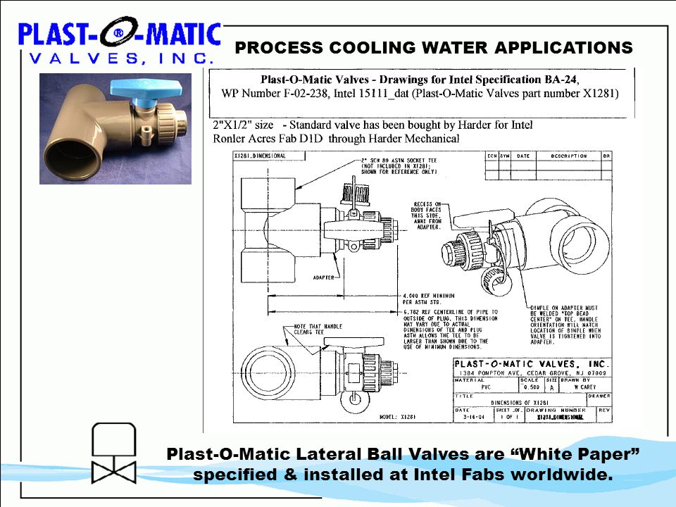 PROCESS COOLING WATER APPLICATIONS Plast-O-Matic Lateral Ball Valves are White Paper specified & installed at Intel Fabs worldwide.