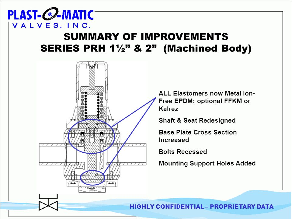 HIGHLY CONFIDENTIAL – PROPRIETARY DATA SUMMARY OF IMPROVEMENTS SERIES PRH 1½ & 2 (Machined Body) ALL Elastomers now Metal Ion- Free EPDM; optional FFKM or Kalrez Shaft & Seat Redesigned Base Plate Cross Section Increased Bolts Recessed Mounting Support Holes Added