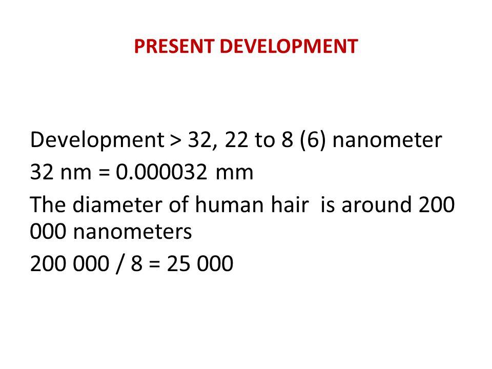 PRESENT DEVELOPMENT Development > 32, 22 to 8 (6) nanometer 32 nm = 0.000032 mm The diameter of human hair is around 200 000 nanometers 200 000 / 8 = 25 000