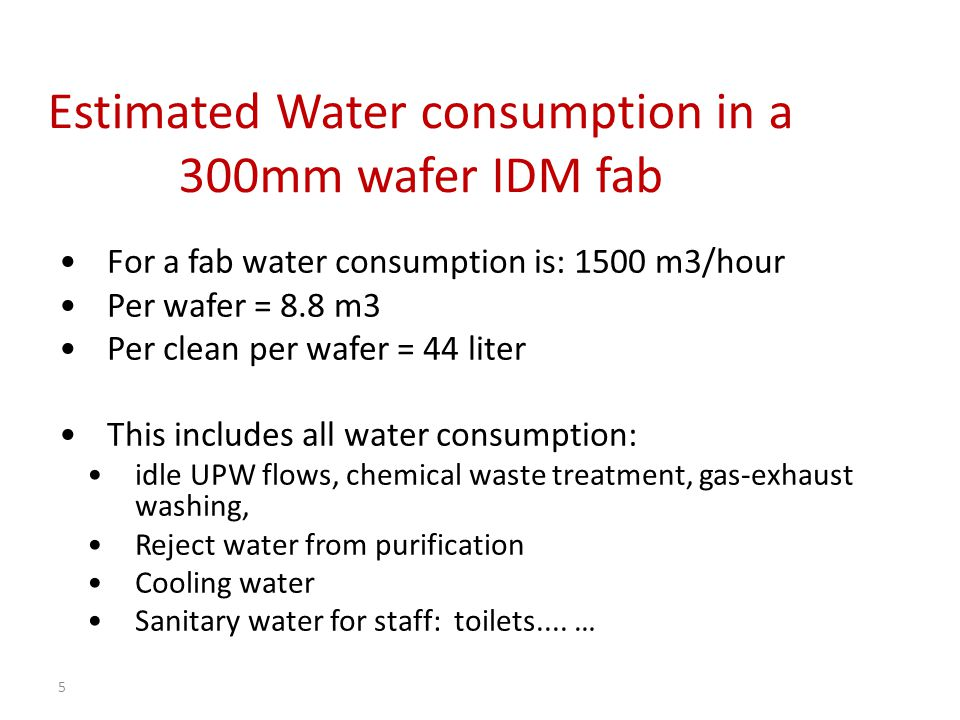 Estimated Water consumption in a 300mm wafer IDM fab For a fab water consumption is: 1500 m3/hour Per wafer = 8.8 m3 Per clean per wafer = 44 liter Th