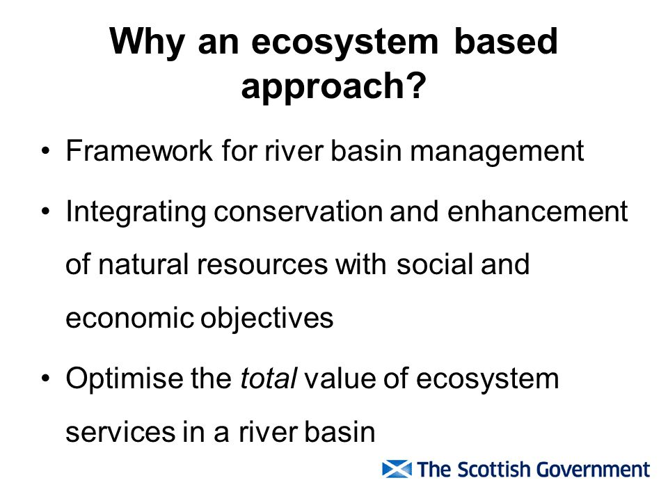 Why an ecosystem based approach.