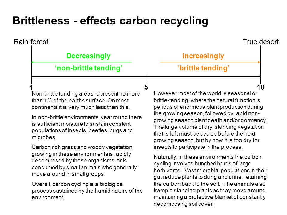 Brittleness - effects carbon recycling 1 510 Decreasingly non-brittle tending Increasingly brittle tending Rain forestTrue desert Non-brittle tending areas represent no more than 1/3 of the earths surface.