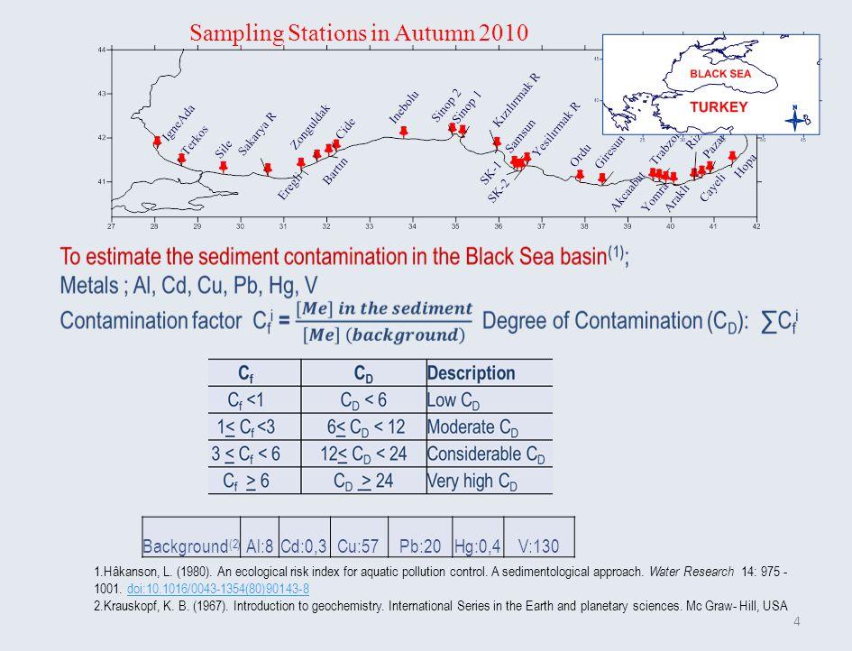 4 Background (2) Al:8Cd:0,3Cu:57Pb:20Hg:0,4V:130 Sampling Stations in Autumn 2010 1.Hâkanson, L.