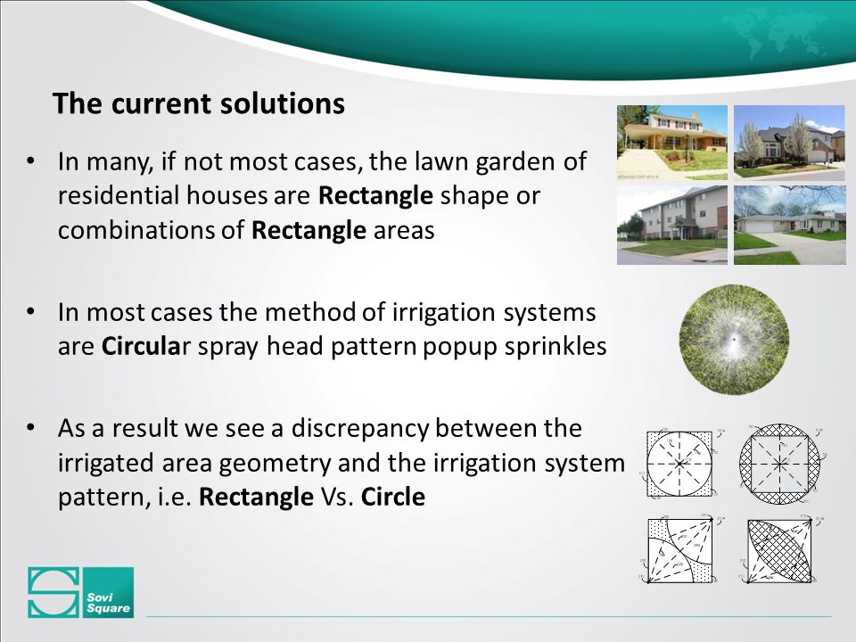 In many, if not most cases, the lawn garden of residential houses are Rectangle shape or combinations of Rectangle areas In most cases the method of irrigation systems are Circular spray head pattern popup sprinkles As a result we see a discrepancy between the irrigated area geometry and the irrigation system pattern, i.e.