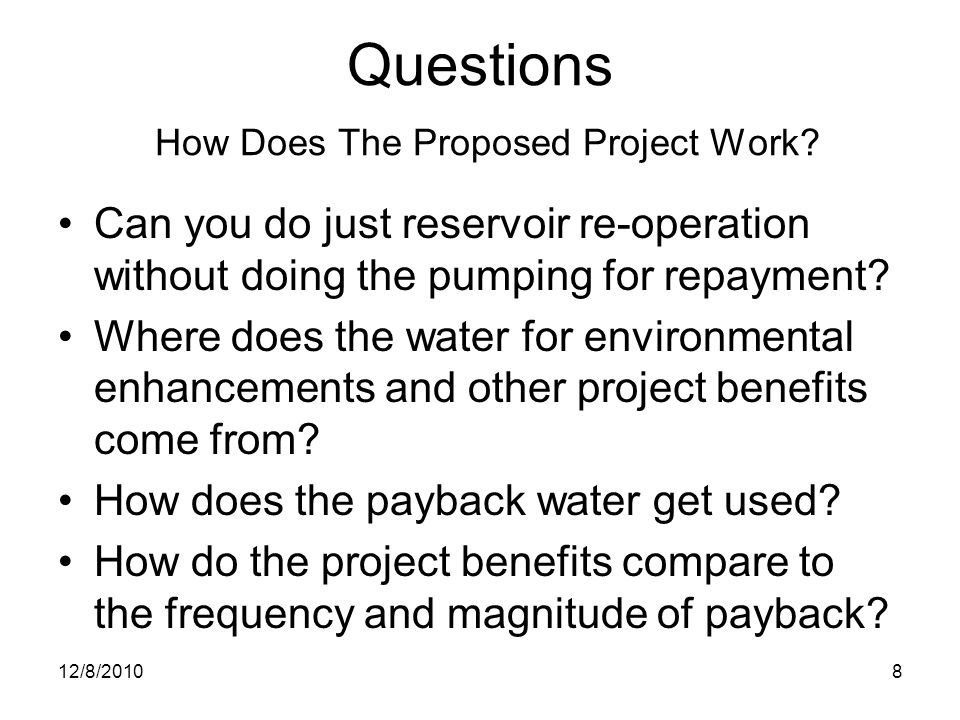 Questions How Does The Proposed Project Work.