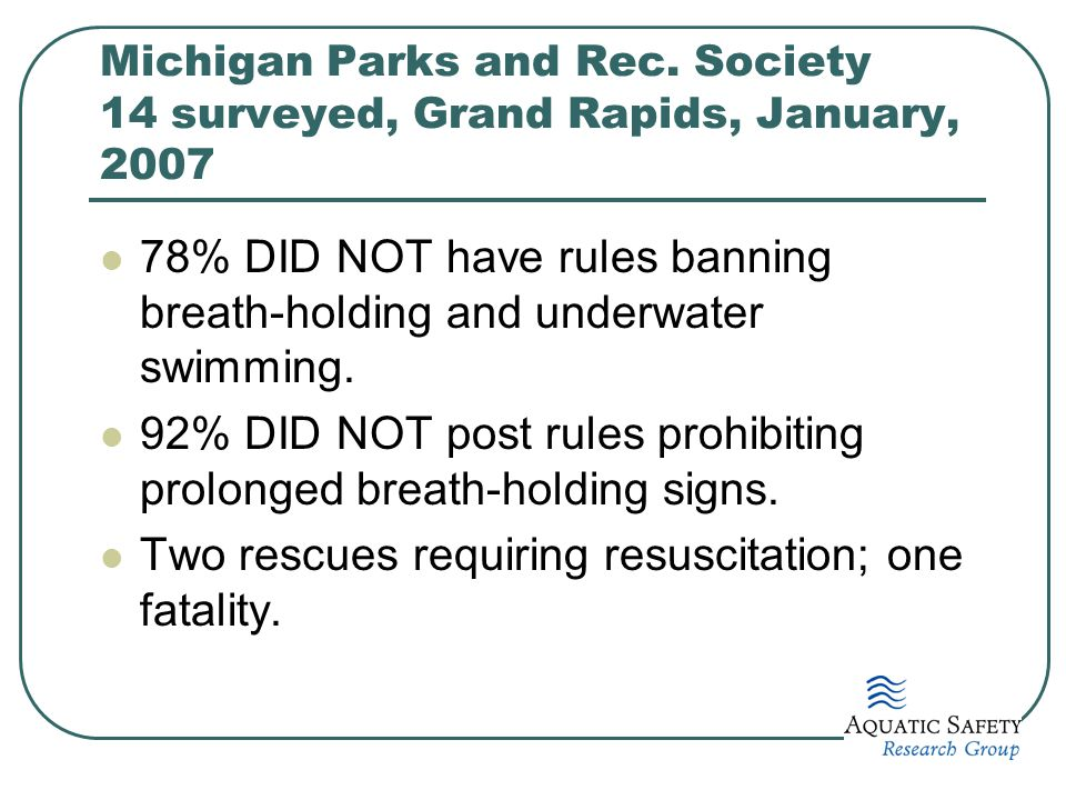 Michigan Parks and Rec. Society 14 surveyed, Grand Rapids, January, 2007 78% DID NOT have rules banning breath-holding and underwater swimming. 92% DI