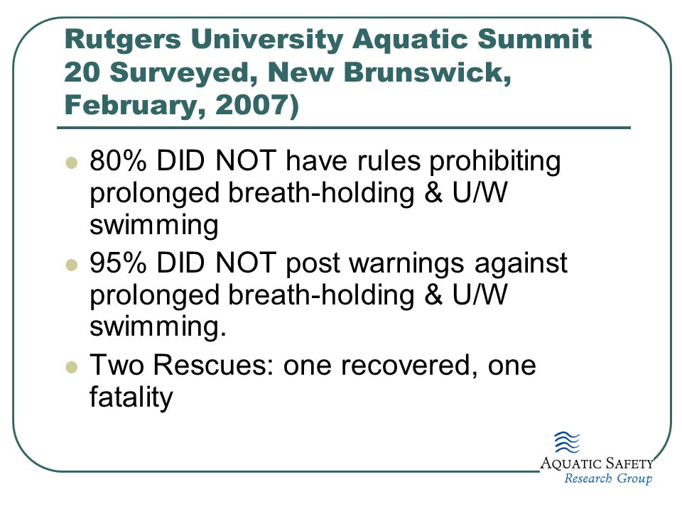 Rutgers University Aquatic Summit 20 Surveyed, New Brunswick, February, 2007) 80% DID NOT have rules prohibiting prolonged breath-holding & U/W swimmi