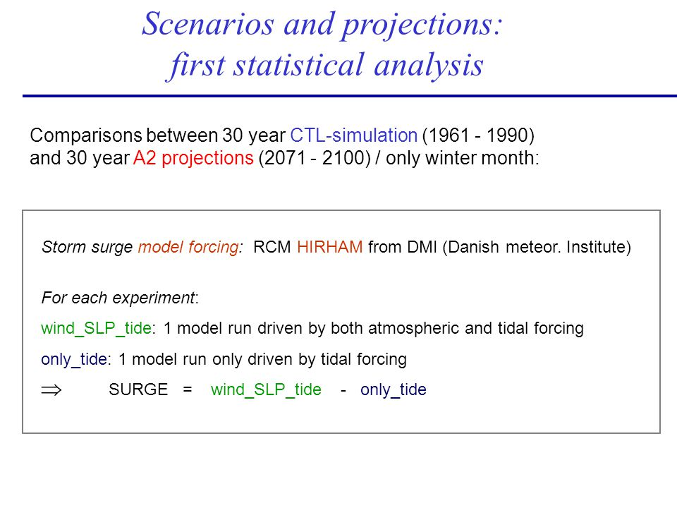 Scenarios and projections: first statistical analysis Storm surge model forcing: RCM HIRHAM from DMI (Danish meteor. Institute) For each experiment: w