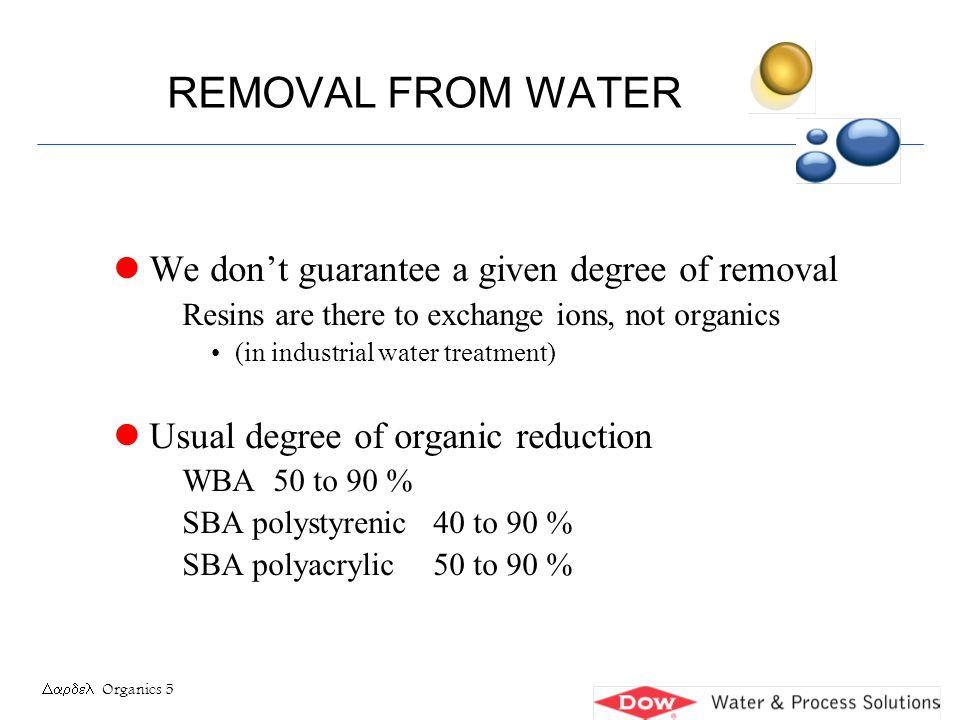 Organics 16 FOULING INDEX l Example 1 Degassed water, 6 meq/L Tot Anions 12 mg/L KMnO 4 N = 12/6 = 2Moderate l Example 2 Undegassed, thin water, 1.5 meq/L 12 mg/L KMnO 4 N= 12/1.5 = 8Highly fouling l Example 3 High TDS water, 15 meq/L, 3 mg/L KMnO 4 N= 3/15 = 0.2Not fouling N = OM (mg/L as KMnO 4 ) Total Anions (meq/L)