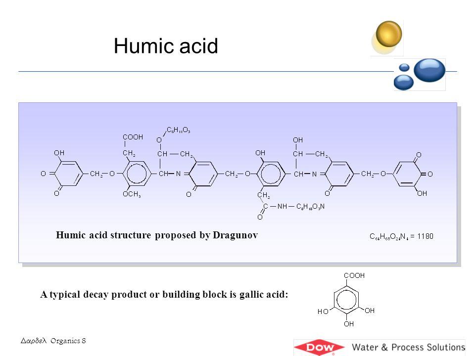Organics 9 NATURAL ORGANIC ACID (partial structure) Molecular mass 500 - 30 000