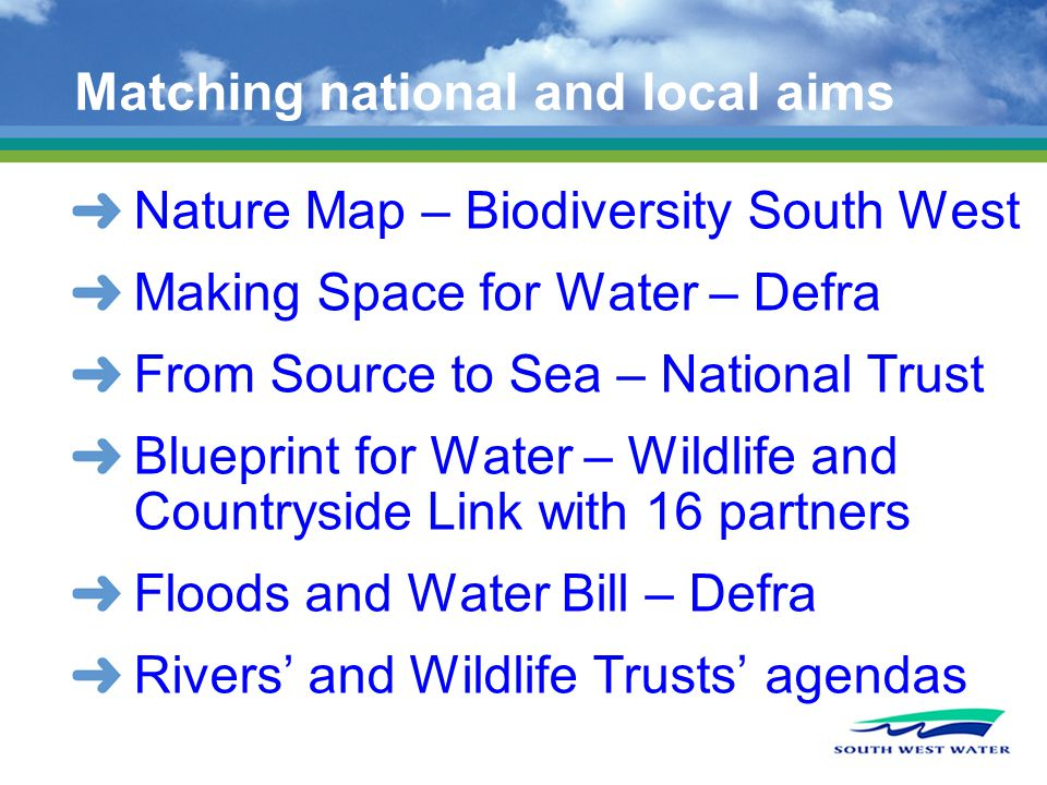 Matching national and local aims Nature Map – Biodiversity South West Making Space for Water – Defra From Source to Sea – National Trust Blueprint for