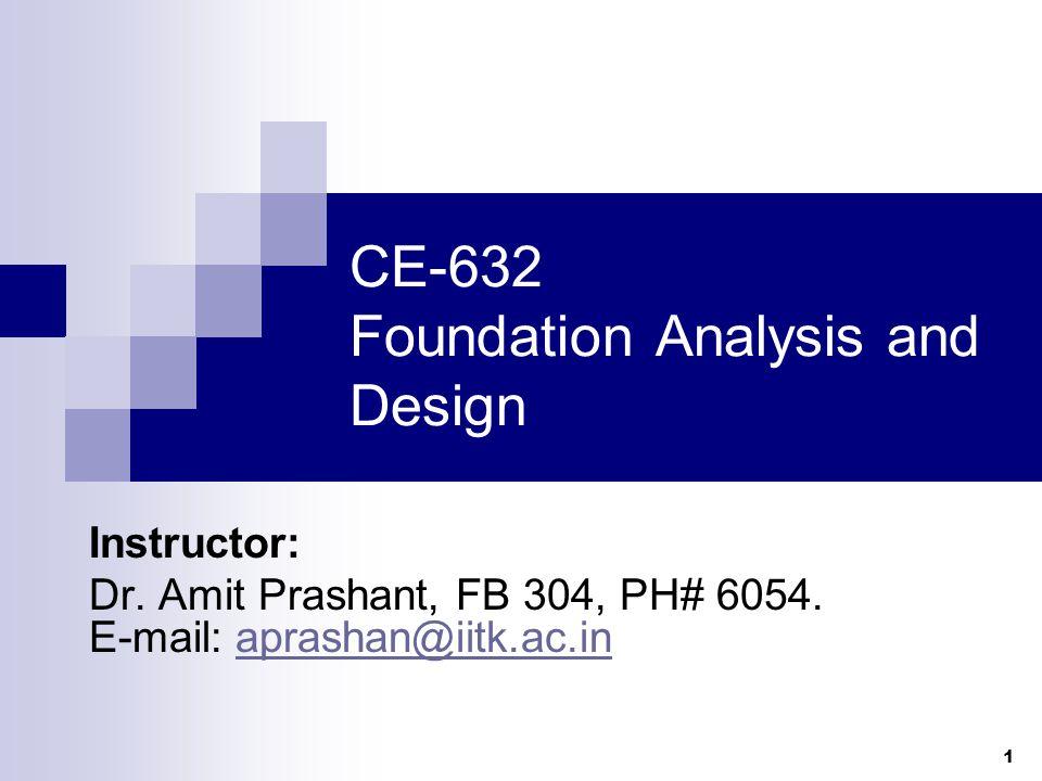 1 CE-632 Foundation Analysis and Design Instructor: Dr. Amit Prashant, FB 304, PH# 6054. E-mail: aprashan@iitk.ac.inaprashan@iitk.ac.in