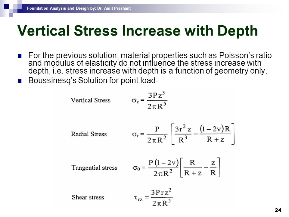 Foundation Analysis and Design by: Dr. Amit Prashant 24 Vertical Stress Increase with Depth For the previous solution, material properties such as Poi