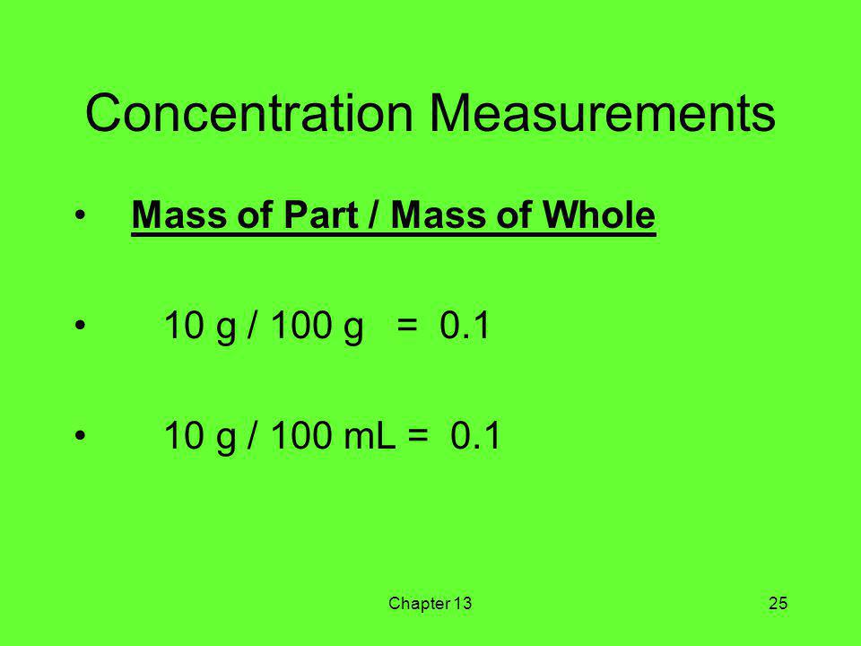 Chapter 1325 Concentration Measurements Mass of Part / Mass of Whole 10 g / 100 g = 0.1 10 g / 100 mL = 0.1