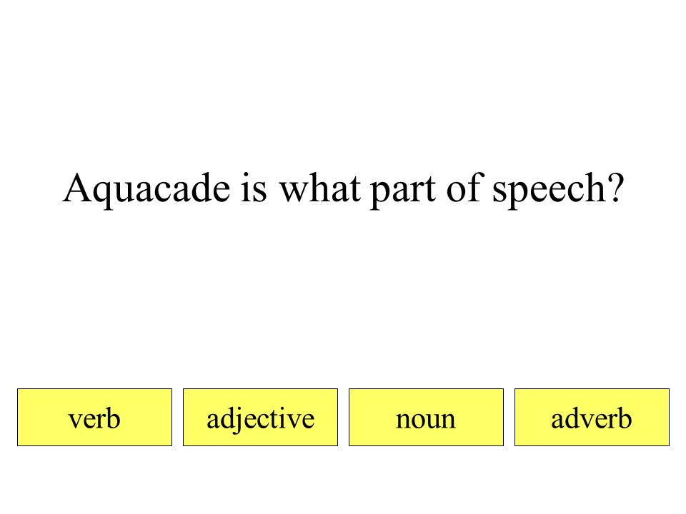 Aquacade is what part of speech verbadjectiveadverbnoun