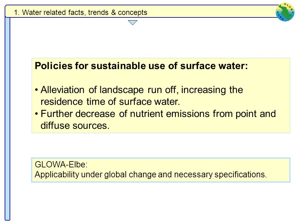 Policies for sustainable use of surface water: Alleviation of landscape run off, increasing the residence time of surface water.