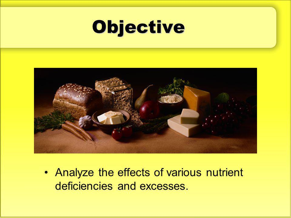Objective Analyze the effects of various nutrient deficiencies and excesses.