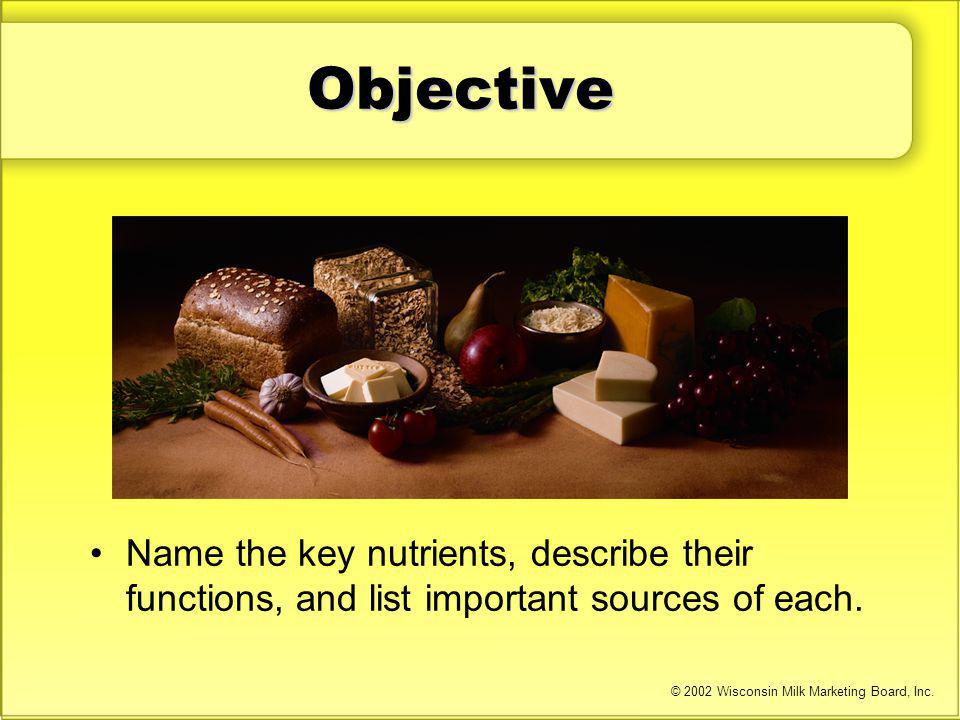 Objective Name the key nutrients, describe their functions, and list important sources of each. © 2002 Wisconsin Milk Marketing Board, Inc.