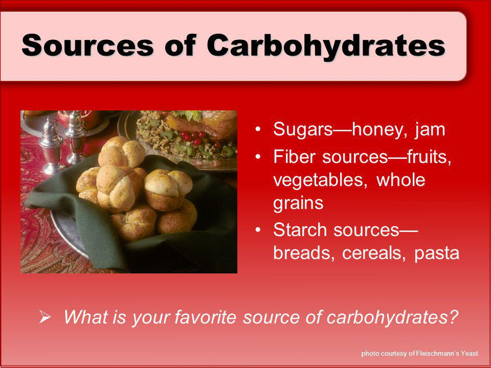 Sources of Carbohydrates Sugarshoney, jam Fiber sourcesfruits, vegetables, whole grains Starch sources breads, cereals, pasta What is your favorite so