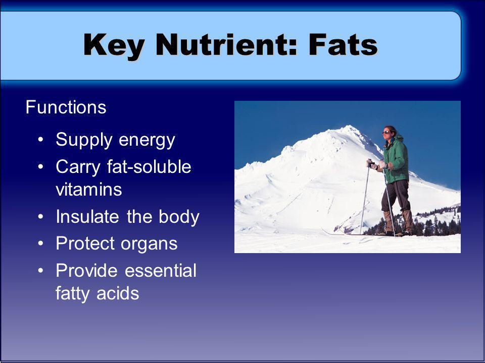 Key Nutrient: Fats Functions Supply energy Carry fat-soluble vitamins Insulate the body Protect organs Provide essential fatty acids