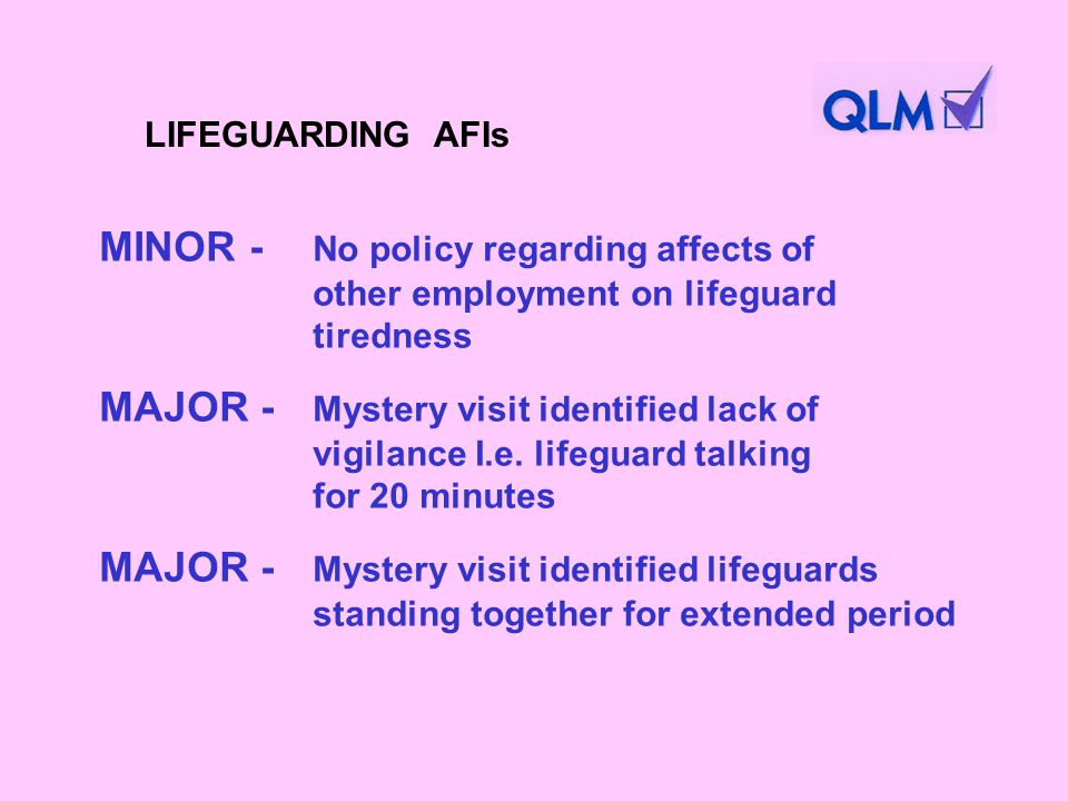 MINOR - No policy regarding affects of other employment on lifeguard tiredness MAJOR - Mystery visit identified lack of vigilance I.e.