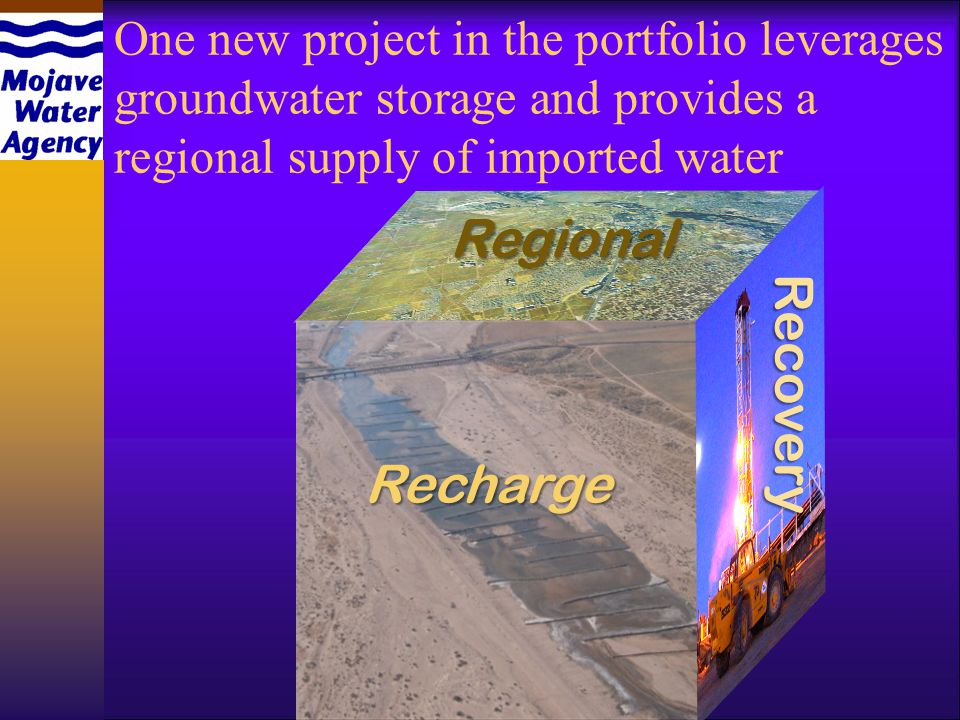 One new project in the portfolio leverages groundwater storage and provides a regional supply of imported water Regional Recharge Recovery