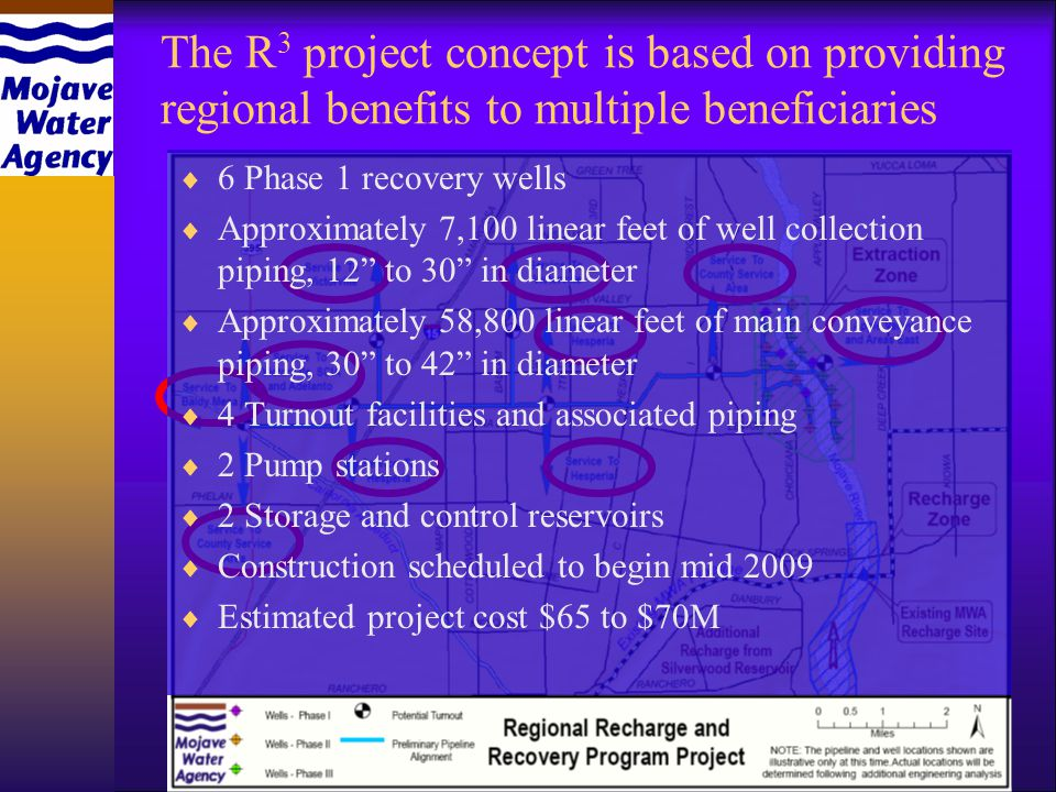 6 Phase 1 recovery wells Approximately 7,100 linear feet of well collection piping, 12 to 30 in diameter Approximately 58,800 linear feet of main conveyance piping, 30 to 42 in diameter 4 Turnout facilities and associated piping 2 Pump stations 2 Storage and control reservoirs Construction scheduled to begin mid 2009 Estimated project cost $65 to $70M
