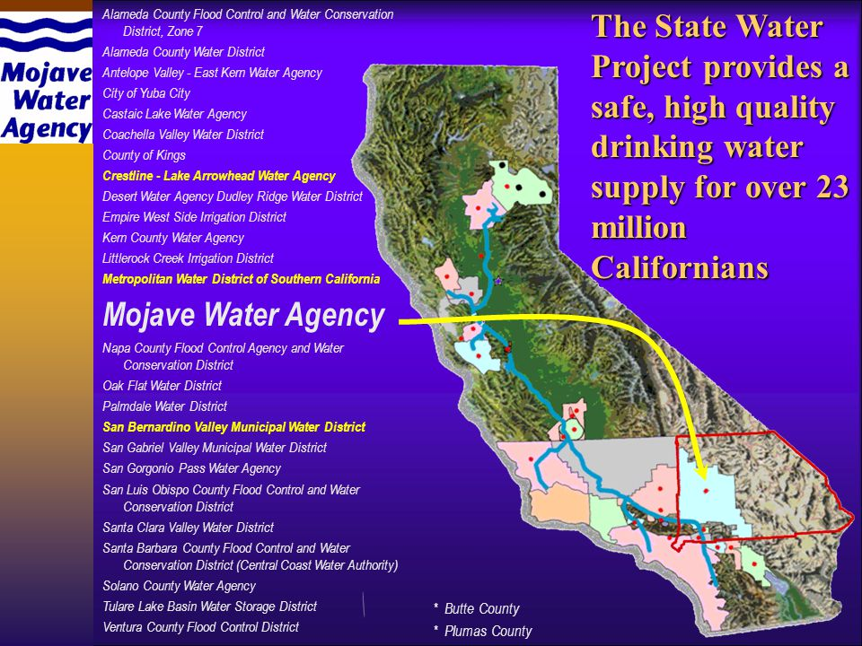 Alameda County Flood Control and Water Conservation District, Zone 7 Alameda County Water District Antelope Valley - East Kern Water Agency City of Yuba City Castaic Lake Water Agency Coachella Valley Water District County of Kings Crestline - Lake Arrowhead Water Agency Desert Water Agency Dudley Ridge Water District Empire West Side Irrigation District Kern County Water Agency Littlerock Creek Irrigation District Metropolitan Water District of Southern California Mojave Water Agency Napa County Flood Control Agency and Water Conservation District Oak Flat Water District Palmdale Water District San Bernardino Valley Municipal Water District San Gabriel Valley Municipal Water District San Gorgonio Pass Water Agency San Luis Obispo County Flood Control and Water Conservation District Santa Clara Valley Water District Santa Barbara County Flood Control and Water Conservation District (Central Coast Water Authority) Solano County Water Agency Tulare Lake Basin Water Storage District Ventura County Flood Control District * Butte County * Plumas County The State Water Project provides a safe, high quality drinking water supply for over 23 million Californians