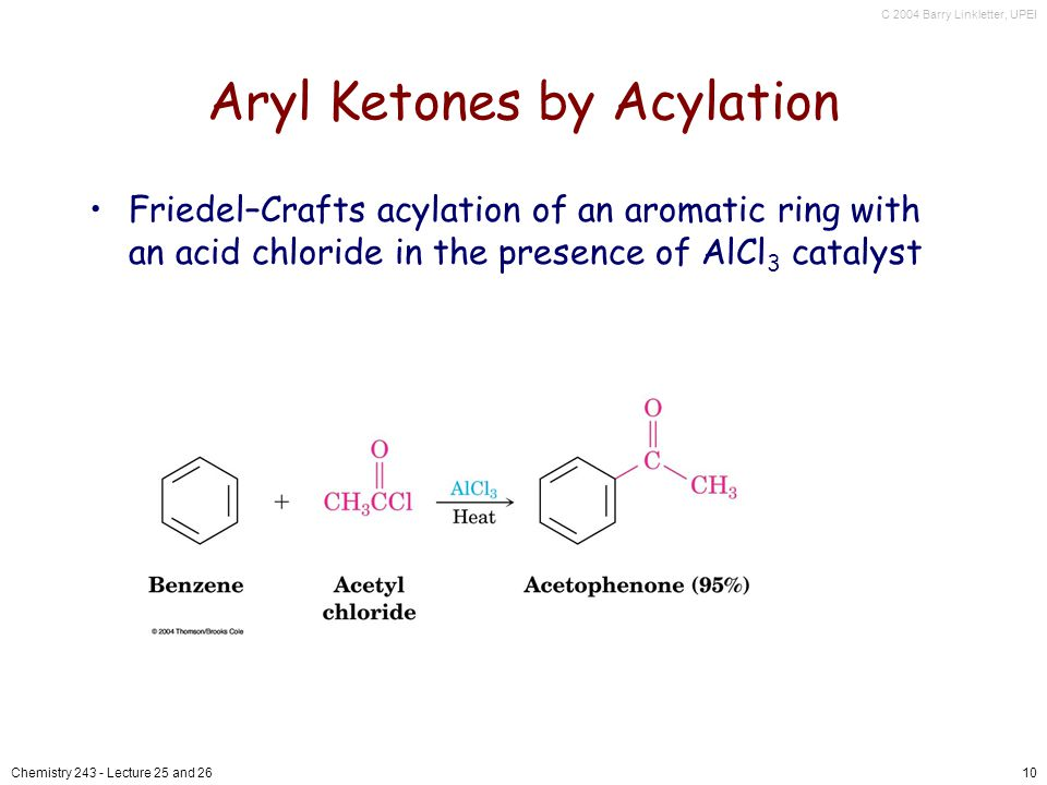 C 2004 Barry Linkletter, UPEI Chemistry Lecture 25 and 2610 Aryl Ketones by Acylation Friedel–Crafts acylation of an aromatic ring with an acid chloride in the presence of AlCl 3 catalyst