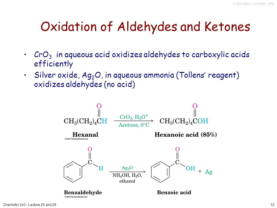 C 2004 Barry Linkletter, UPEI Chemistry Lecture 25 and 2612 Oxidation of Aldehydes and Ketones CrO 3 in aqueous acid oxidizes aldehydes to carboxylic acids efficiently Silver oxide, Ag 2 O, in aqueous ammonia (Tollens reagent) oxidizes aldehydes (no acid)