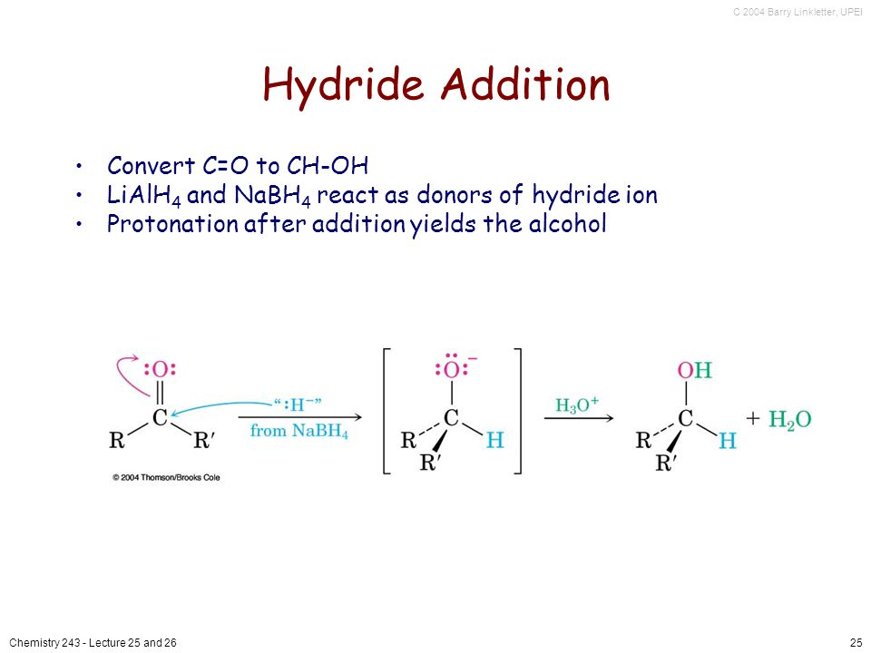 C 2004 Barry Linkletter, UPEI Chemistry Lecture 25 and 2625 Hydride Addition Convert C=O to CH-OH LiAlH 4 and NaBH 4 react as donors of hydride ion Protonation after addition yields the alcohol