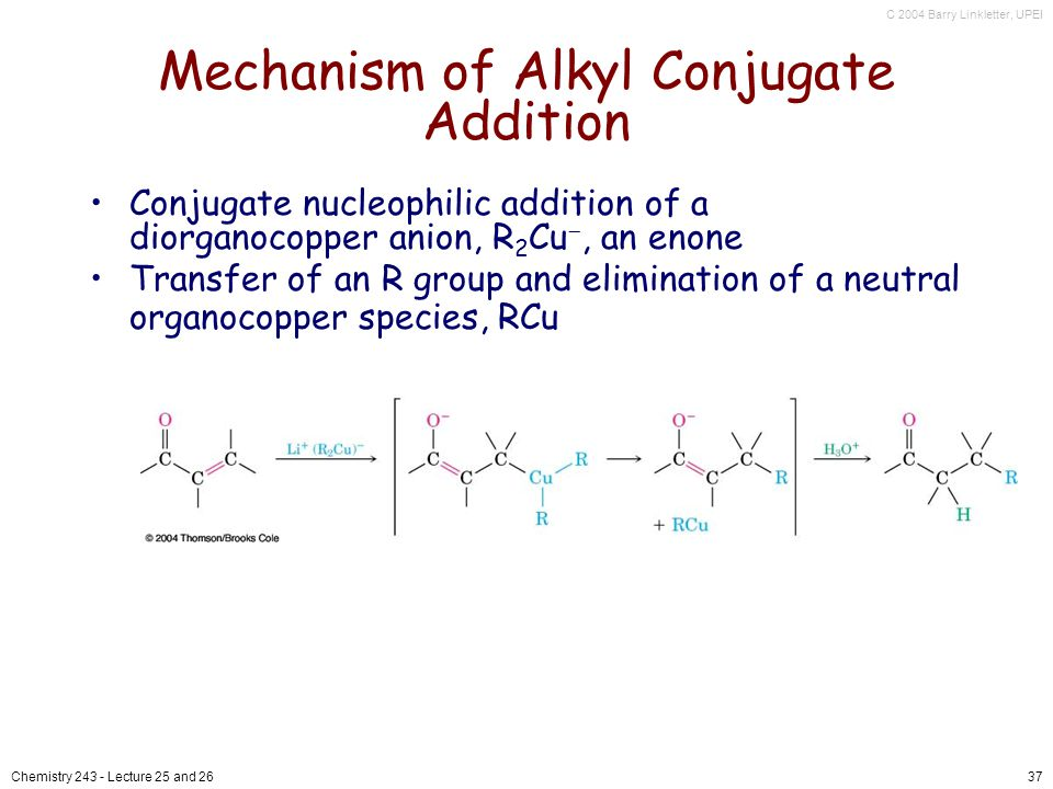 C 2004 Barry Linkletter, UPEI Chemistry Lecture 25 and 2637 Mechanism of Alkyl Conjugate Addition Conjugate nucleophilic addition of a diorganocopper anion, R 2 Cu, an enone Transfer of an R group and elimination of a neutral organocopper species, RCu