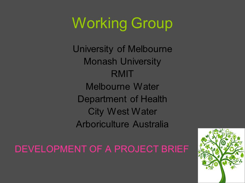 Working Group University of Melbourne Monash University RMIT Melbourne Water Department of Health City West Water Arboriculture Australia DEVELOPMENT