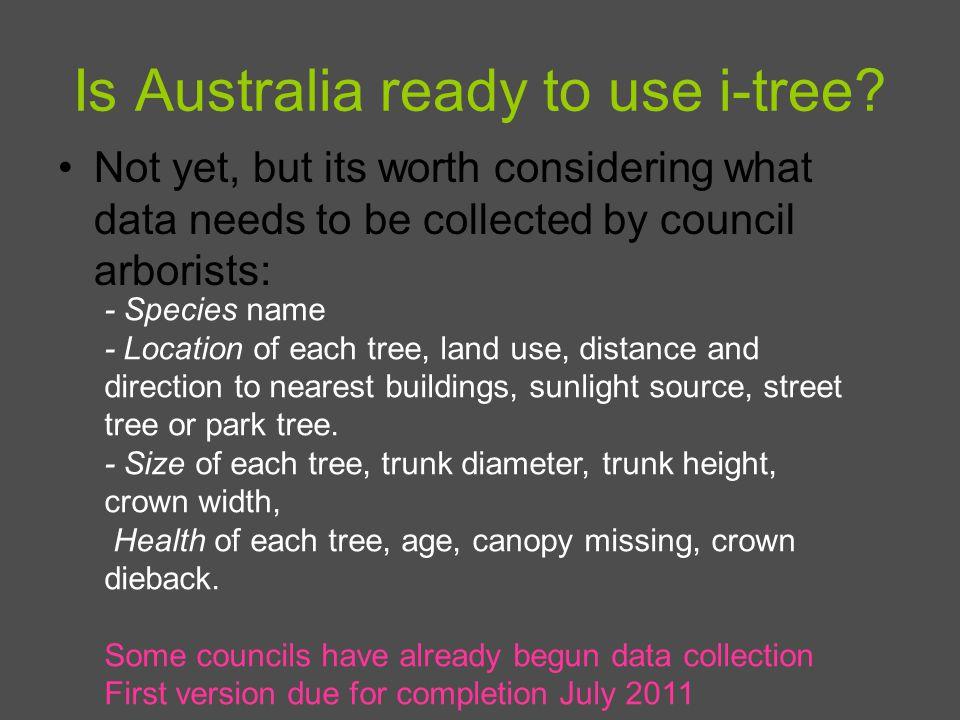 Is Australia ready to use i-tree.
