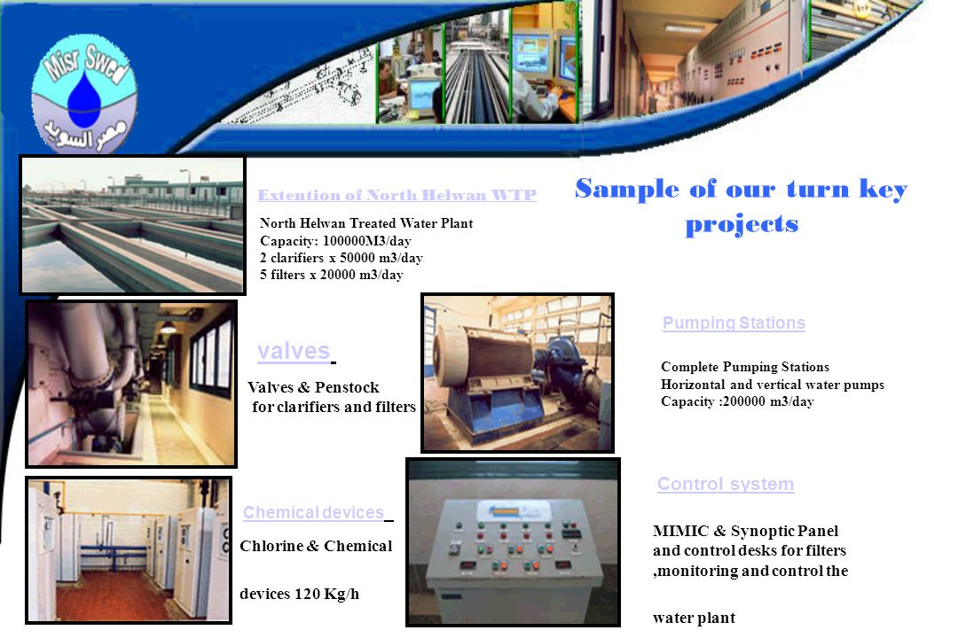 Sample of our turn key projects North Helwan Treated Water Plant Capacity: 100000M3/day 2 clarifiers x 50000 m3/day 5 filters x 20000 m3/day Extention