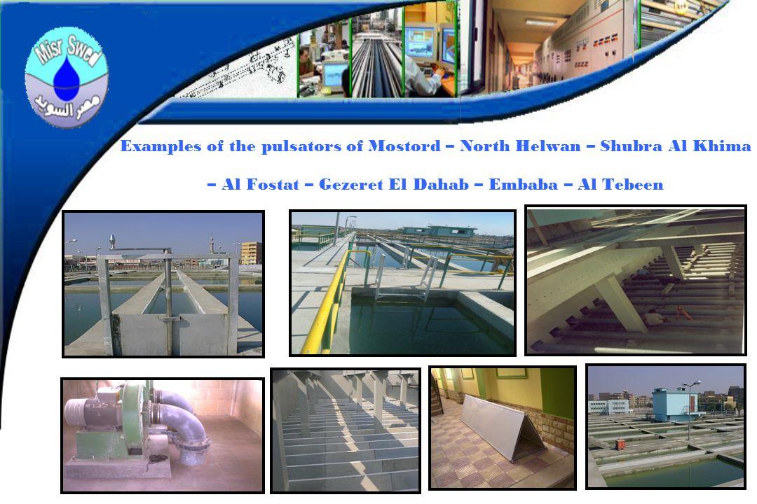 Examples of the pulsators of Mostord – North Helwan – Shubra Al Khima – Al Fostat – Gezeret El Dahab – Embaba – Al Tebeen