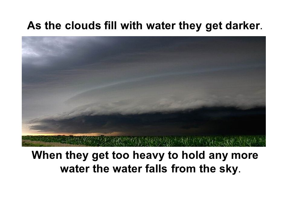 As the clouds fill with water they get darker.
