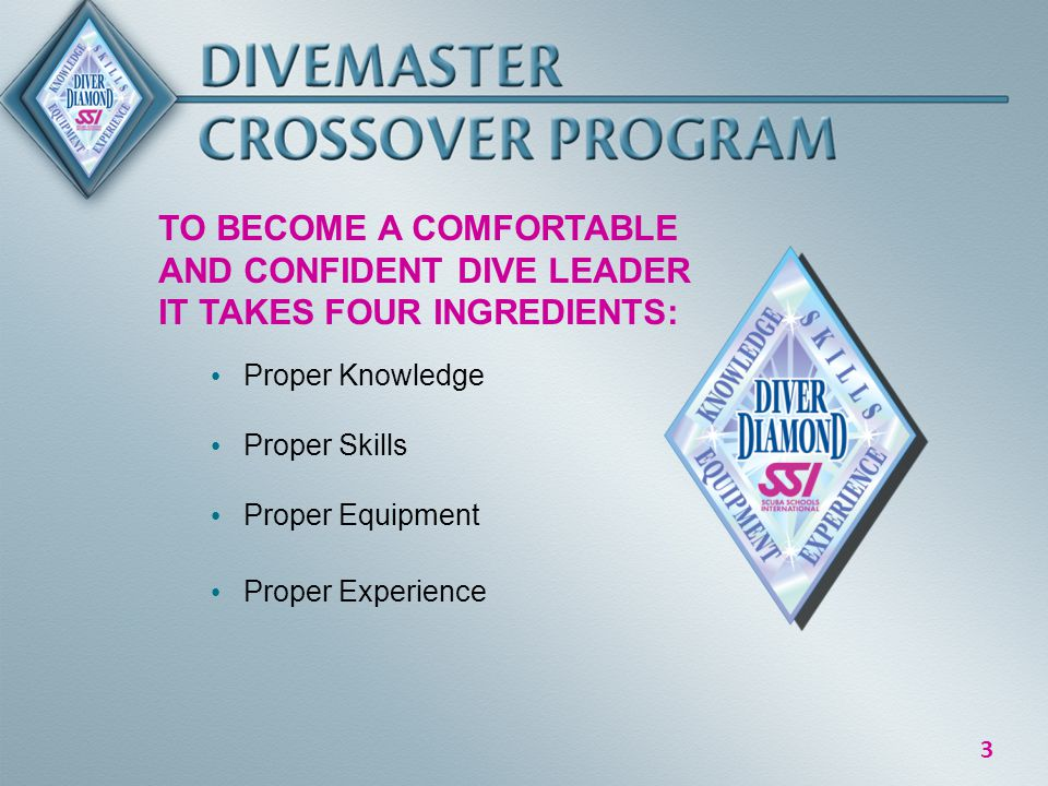 3 TO BECOME A COMFORTABLE AND CONFIDENT DIVE LEADER IT TAKES FOUR INGREDIENTS: Proper Knowledge Proper Skills Proper Equipment Proper Experience