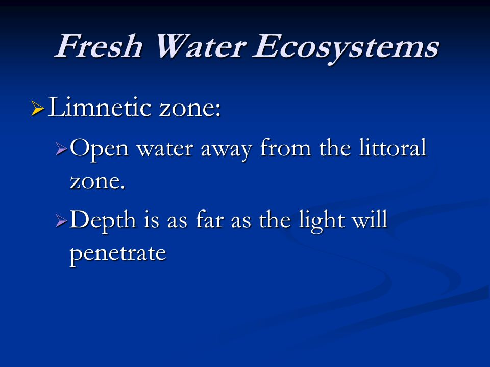 Fresh Water Ecosystems Limnetic zone: Limnetic zone: Open water away from the littoral zone. Open water away from the littoral zone. Depth is as far a