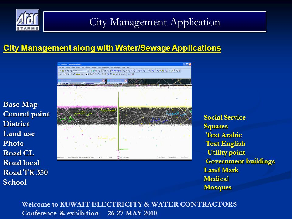 Welcome to KUWAIT ELECTRICITY & WATER CONTRACTORS Conference & exhibition 26-27 MAY 2010 City Management Application City Management along with Water/