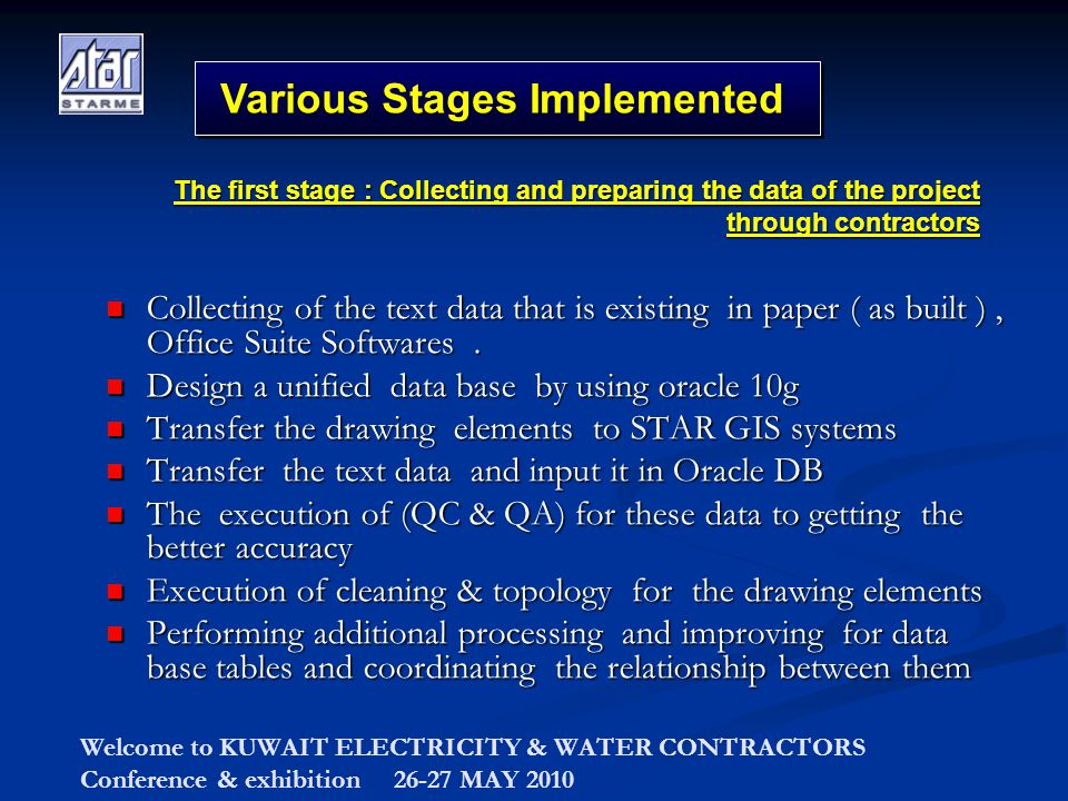 Welcome to KUWAIT ELECTRICITY & WATER CONTRACTORS Conference & exhibition 26-27 MAY 2010 Various Stages Implemented Collecting of the text data that i