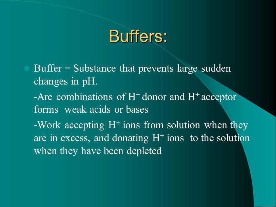 Buffers: Buffer = Substance that prevents large sudden changes in pH. -Are combinations of H + donor and H + acceptor forms weak acids or bases -Work